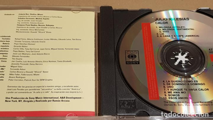 CDs de Música: JULIO IGLESIAS / CALOR / CD - CBS-SONY / 10 TEMAS / CALIDAD LUJO. - Foto 2 - 184562520