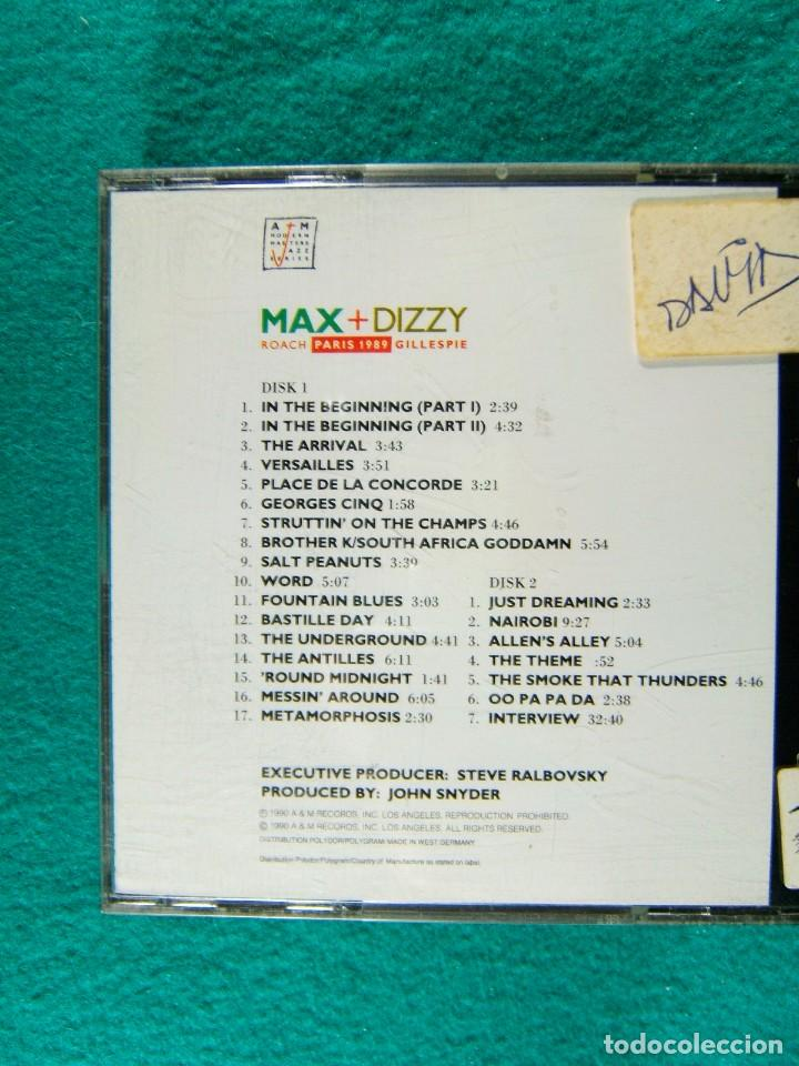CDs de Música: MAX + DIZZY- ROACH PARIS 1989 GILLESPIE-MADE IN WEST GERMANY-DOS CDs-1990. - Foto 2 - 184595877