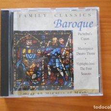 CDs de Música: CD BEST OF BAROQUE - FAMILY CLASSICS - PACHELBEL'S CANON, MASTERPIECE THEATRE THEME... (AA). Lote 185684175