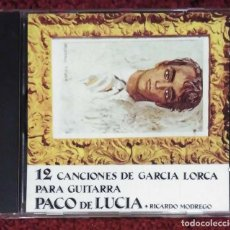 CDs de Música: PACO DE LUCIA + RICARDO MONEGRO (12 CANCIONES DE GARCIA LORCA PARA GUITARRA) CD 1995. Lote 185883780