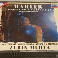 CDs de Música: MAHLER / SYMPHONY Nº 2 RESURRECTION / ZUBIN MEHTA / DOBLE CD-BOX / DE LUJO - LEER.. Lote 186066902