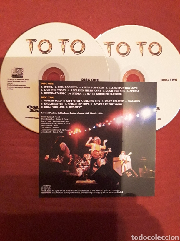 TOTO: OSAKA 1982; 2ND NIGHT, JAPAN TOUR 1982, 2CD'S. MUY RARO. (Música - CD's Rock)