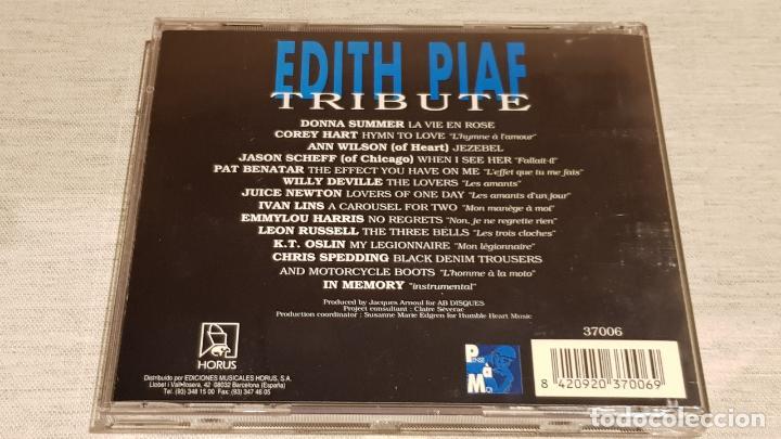CDs de Música: EDITH PIAF / TRIBUTE / VARIOS ARTISTAS / CD - HORUS / 13 TEMAS / CALIDAD LUJO. - Foto 3 - 186338457