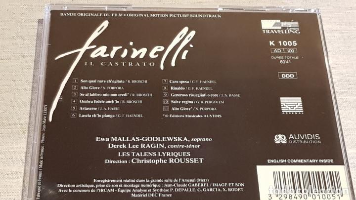 CDs de Música: B.S.O. / FARINELLI IL CASTRATO / CHRISTOPHE ROUSSET / CD - AUDIVIS-1994 / 11 TEMAS / DE LUJO. - Foto 3 - 187170005