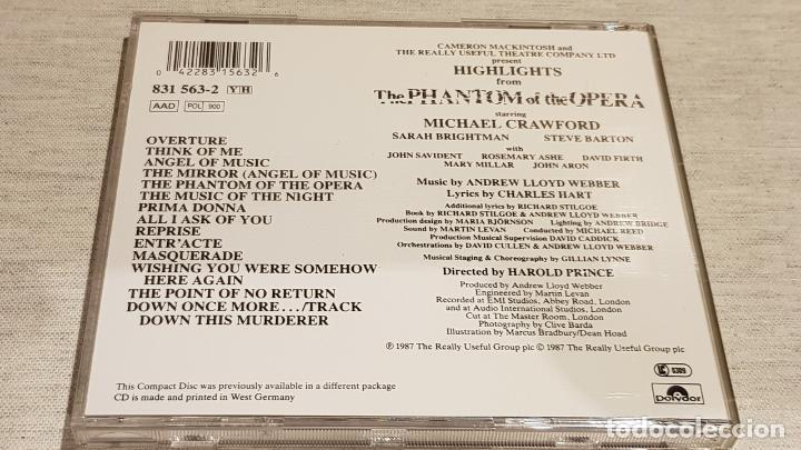 CDs de Música: B.S.O. / THE PHANTOM OF THE OPERA / ANDREW LLOYD / CD - POLYDOR / CALIDAD LUJO. - Foto 3 - 187586828