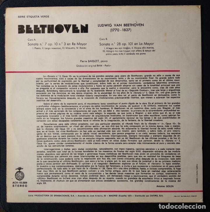 CDs de Música: Disco 1972 LP muy raro BEETHOVEN música clásica - Foto 2 - 189264242