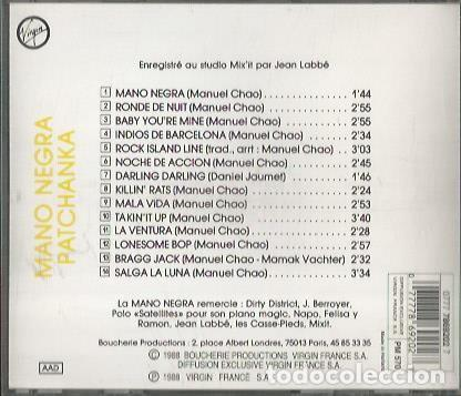 CDs de Música: MANO NEGRA. PATCHANKA. VIRGIN RECORDS FRANCE 1988. - Foto 2 - 189765655