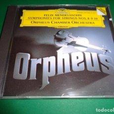 CDs de Música: FELIX MENDELSSOHN / SYMPHONIES FOR STRINGS 8,9,10 / ORPHEUS CHAMBER ORCHESTRA / CD. Lote 191338496