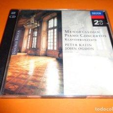 CDs de Música: FELIX MENDELSSOHN / PIANO CONCERTOS / PETER KATIN / JOHN OGDON / DOUBLE DECCA / 2 CD. Lote 191608402