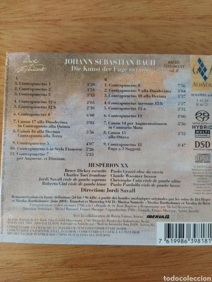 CDs de Música: J. S. Bach: El arte de la fuga (Jordi Savall, 2 Vols.) - Foto 2 - 193327680