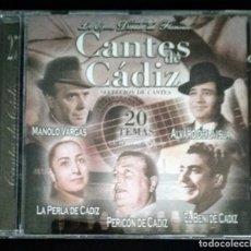 CDs de Música: CD CANTES DE CÁDIZ PERICÓN DE CÁDIZ - MANOLO VARGAS - ANTONIO EL CHAQUETA - BENI DE CADIZ - LA PERLA. Lote 194218877