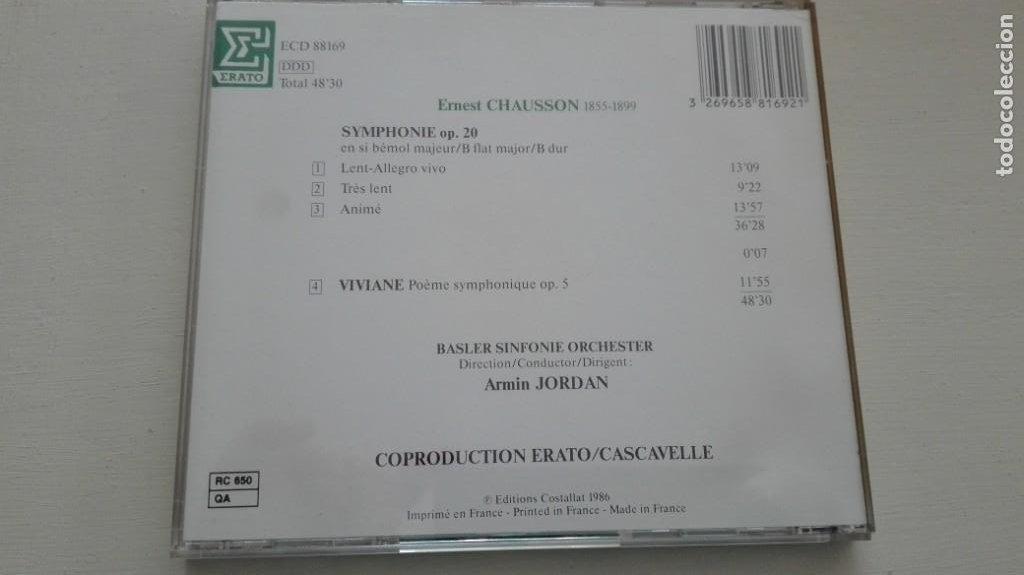 CDs de Música: Ernest Chausson CD Symphonie op 20 Viviane Basler Sinfonie Orchester Armin Jordan DDD - Foto 2 - 194222987