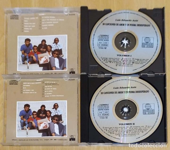 CDs de Música: LUIS EDUARDO AUTE (20 CANCIONES DE AMOR Y UN POEMA DESESPERADO VOL.1 Y VOL.2) 2 CD 1986 - Foto 3 - 194274561