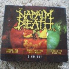 CDs de Música: CAJA 3 CD´S NAPALM DEATH. LIBRETOS LETRAS. MUY BUENA CONSERVACON. Lote 194367908