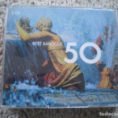 CDs de Música: CAJA TRIPLE CD. BEST BARROQUE 50. MUY BUENA CONSERVACION. Lote 194368295
