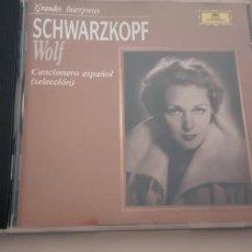 CDs de Música: HUGO WOLF CD CANCIONERO ESPAÑOL (SELECCIÓN) CANCIONES SACRAS Y PROFANAS E. SCHWARZKOPF G. MOORE. Lote 194617547