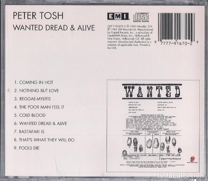 CDs de Música: PETER TOSH : WANTED DREAD & ALIVE - CD ORIGINAL USA 1981 EMI - ROLLING STONES RECORDS - Foto 2 - 195225190