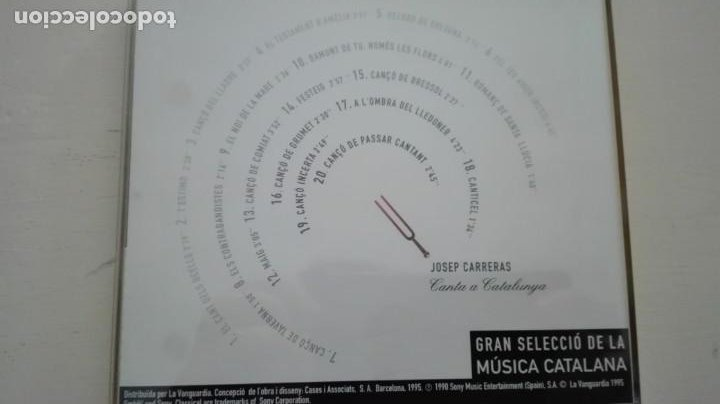 CDs de Música: Josep Carreras CD Canta a Catalunya Caja de Madrid La Vanguardia 1995 - Foto 2 - 195311710