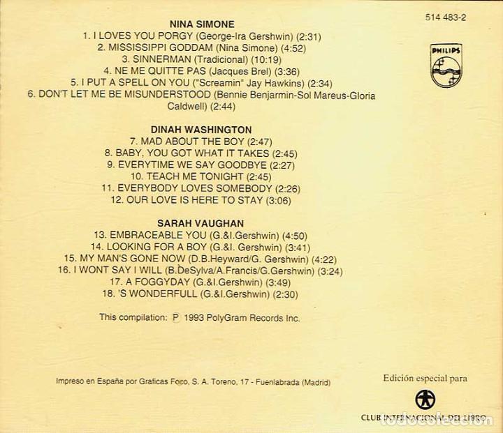 CDs de Música: Los 60 De Los 60 - Nina Simone / Dinah Washington / Sarah Vaughan. CD - Foto 2 - 195353680