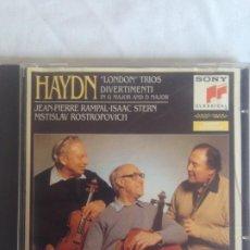 CDs de Música: HAYDN. LONDON TRIOS. DIVERTISSEMENTS. JEAN-PIERRE RAMPAL. ISAAC STERN. MSTISLAW ROSTROPOVICH. CD.. Lote 195413198
