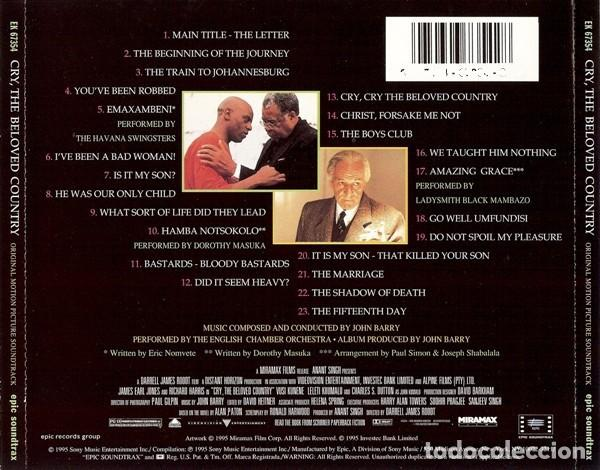 CDs de Música: CRY THE BELOVED COUNTRY / John Barry CD BSO - Foto 2 - 195441263