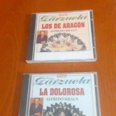 CDs de Música: LOTE DE 2 ZARZUELAS DE LA COLECCIÓN TIEMPO SIN ESTRENAR LA DOLOROSA Y LOS DE ARAGÓN ALFREDO KRAUS. Lote 196114291