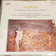 CDs de Música: MAHLER / SYMPHONY Nº 4 IN G MAJOR / LYNDA RUSSELL-SOPRANO / ANTONIO WIT / CD-NAXOS / DE LUJO.. Lote 197564905