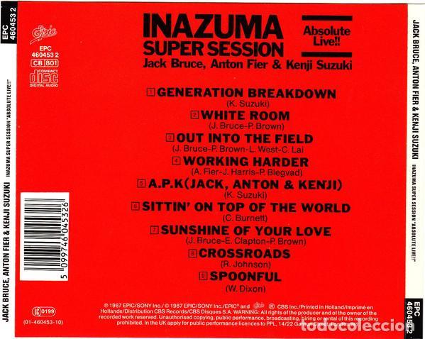 CDs de Música: Jack Bruce, Anton Fier & Kenji Suzuki – Inazuma Super Session Absolute Live 1987 !! cd, collectors - Foto 2 - 198042727