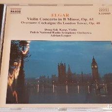 CDs de Música: ELGAR / VIOLIN CONCERTO IN B MINOR, OP. 61 / ADRIAN LEAPER / CD-NAXOS / DE LUJO.. Lote 198312425