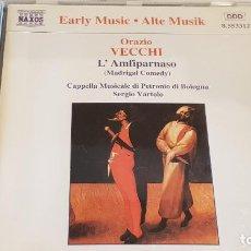 CD di Musica: ORAZIO VECCHI / LAMFIPARNASO (MADRIGAL COMEDY) / SERGIO VARTOLO / CD - NAXOS / CALIDAD LUJO.. Lote 198314858