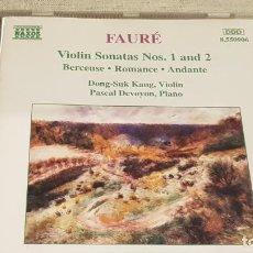 CDs de Música: FAURÉ / VIOLIN SONATAS Nº 1 AND 2 / PASCAL DEVOYON - PIANO / CD - NAXOS / DE LUJO. Lote 198473471