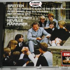 CDs de Música: BRITTEN, WORKS FOR ORCHESTRA, MINNESOTA, SIR NEVILLE MARRINER, CD EMI, 1984, BENJAMIN. Lote 198569827