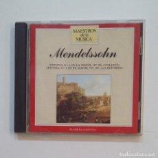 CDs de Música: MAESTROS DE LA MUSICA. MENDELSSHON. SINFONIA Nº 4 SINFONIA Nº 5. CD. TDKV47. Lote 199247703