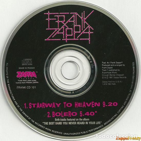 CDs de Música: FRANK ZAPPA / Stairway to heaven / Bolero, 1ª version, france ORG CD single LED ZEPPELIN !! EXC - Foto 4 - 43967621