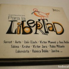 CDs de Música: 3 CD'S CANTAUTORES PARA LA LIBERTAD. SERRAT, AUTE LLACH, SABINA, KRAHE, JARA.. 60 TEMAS DRO 2004 . Lote 201935773