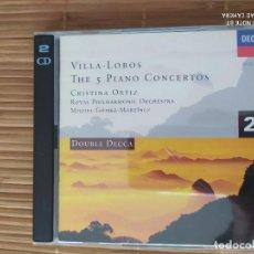 CDs de Música: 2 CD, VILLA-LOBOS, THE 5 PIANO CONCERTOS, CRISTINA ORTIZ, DECCA. Lote 202897651