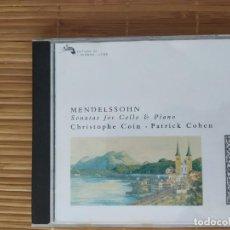 CDs de Música: CD, MENDELSSOHN, SONATAS CELLO Y PIANO, C. COIN, P. COHEN, L'OISEAU. Lote 202897956