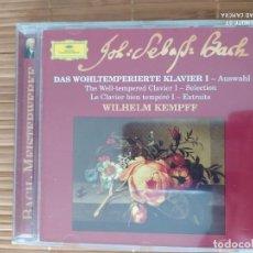 CDs de Música: CD BACH, EL CLAVE BIEN TEMPERADO (SELECCION), W. KEMPFF, DEUTSCHE GRAMMOPHONE. Lote 202899028
