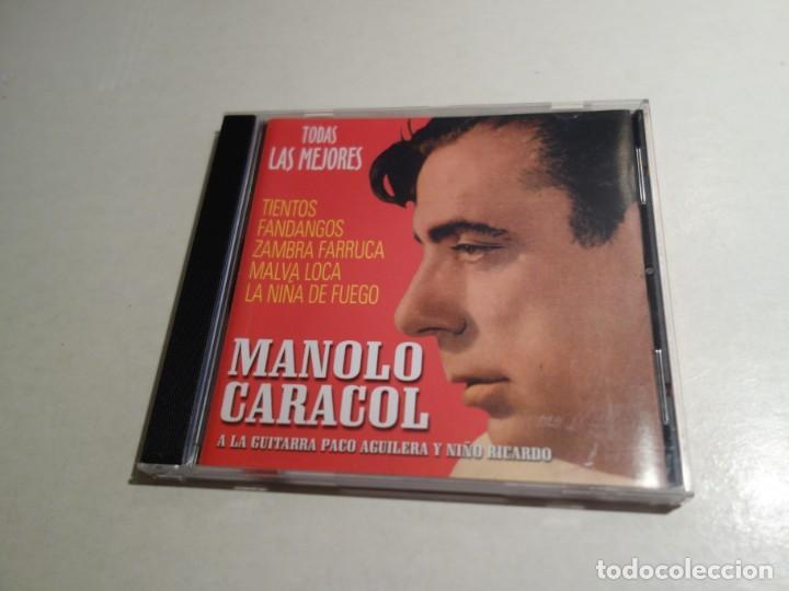 CDs de Música: 2 CD MANOLO CARACOL. TODAS LOS MEJORES TIENTOS FANDANGOS ZAMBRA FARRUCA MALVA LOCA AL NIÑA DE FUEGO - Foto 2 - 203952175