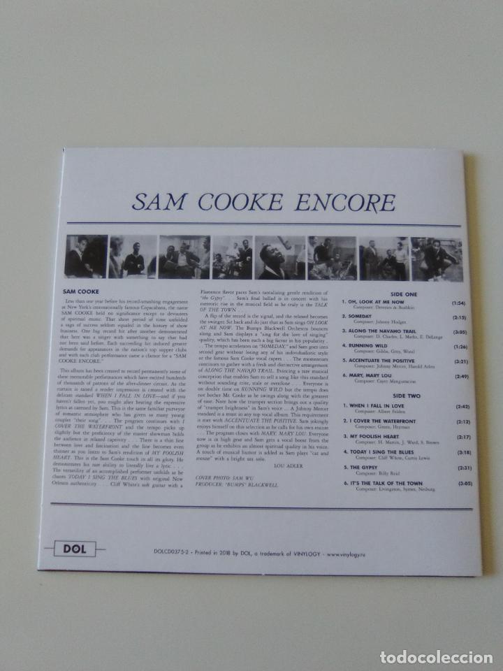 CDs de Música: SAM COOKE Encore ( 1959 DOL 2019 ) FUNDA CARTON REPLICA DISCO ORIGINAL - Foto 2 - 206383106