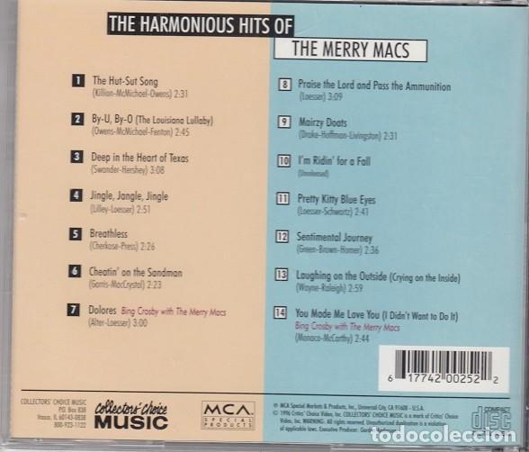 CDs de Música: THE MERRY MACS - THE HARMONIUS HITS OF THE MERRY MACS - CD - SWING GRUPO VOCAL - Foto 2 - 206388222