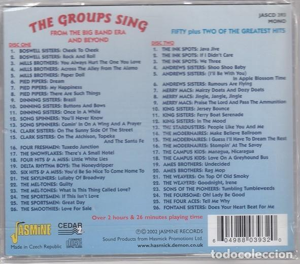 CDs de Música: THE GROUPS SING - 52 GRANDES EXITOS - DOBLE CD - SWING GRUPO VOCALES BOSWELL SISTERS PIED PIPERS ETC - Foto 2 - 206388996