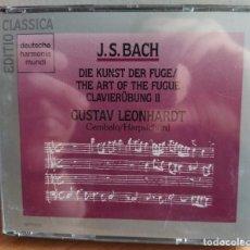 CDs de Música: BACH, GUSTAV LEONHARDT - DIE KUNST DER FUGE / THE ART OF THE FUGUE / CLAVIERÜBUNG II (2XCD) (D:NM). Lote 207218520
