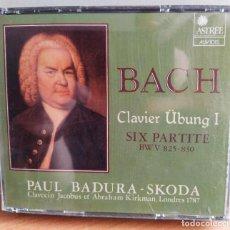 CDs de Música: PAUL BADURA-SKODA - CLAVIER ÜBUNG I SIX PARTITE BWV 825-830 (2XCD) (ASTRÉE AUVIDIS) E 7771(D:NM). Lote 207218917