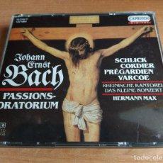 CDs de Música: JOHANN ERNST BACH, HERMANN MAX - PASSIONS-ORATORIUM (2XCD, ALBUM) (CAPRICCIO) (D:NM). Lote 207220160