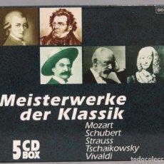 CDs de Música: 5 CD. MEISTERWERKE DER KLASSIK. MOZART. SCHUBERT. STRAUSS. TCHAIKOWSKY. VIVALDI. Lote 211439485