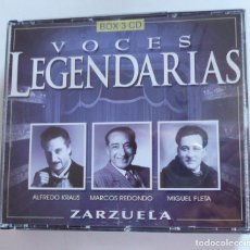 CDs de Música: VOCES LEGENDARIAS ZARZUELA. ALDREDO KRAUS, MARCOS REDONDO, MIGUEL FLETA (TRIPLE CD). Lote 211972143