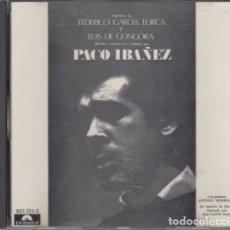 CDs de Música: PACO IBAÑEZ - POEMAS DE FEDERICO GARCIA LORCA Y LUIS DE GONGORA - CD EDICION ESPAÑOLA POLYDOR 1990. Lote 212343853