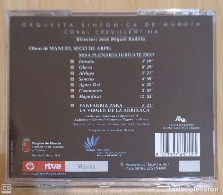 CDs de Música: MISA PLENARIA IUBILATE DEO (MANUEL SECO DE ARPE) CD 2001 ORQUESTA SINFONICA DE MURCIA - Foto 2 - 212930922