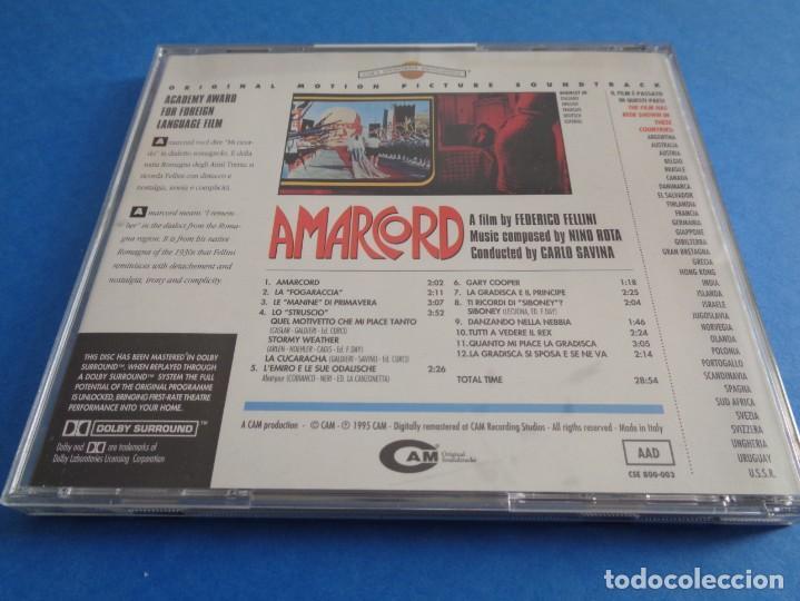 CDs de Música: AMARCORD / ORIGINAL SOUNDTRACK / NINO ROTA / FEDERICO FELLINI / BANDA SONORA / BSO / CD - Foto 2 - 214482635